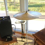 image of Cymbal with PVDF Film Tab Contact Mic Attached