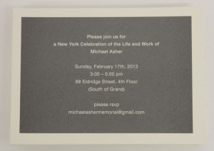 image of Invitation for Michael Asher New York memorial